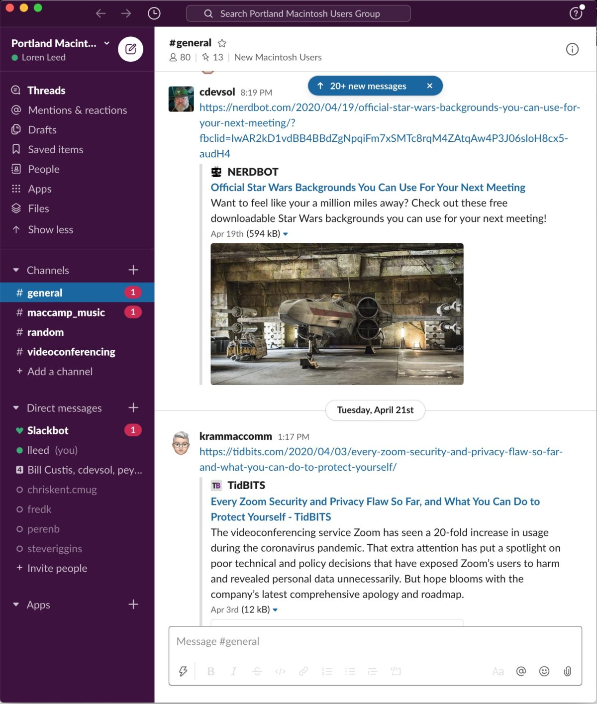 Screenshot of PMUG's Slack channel