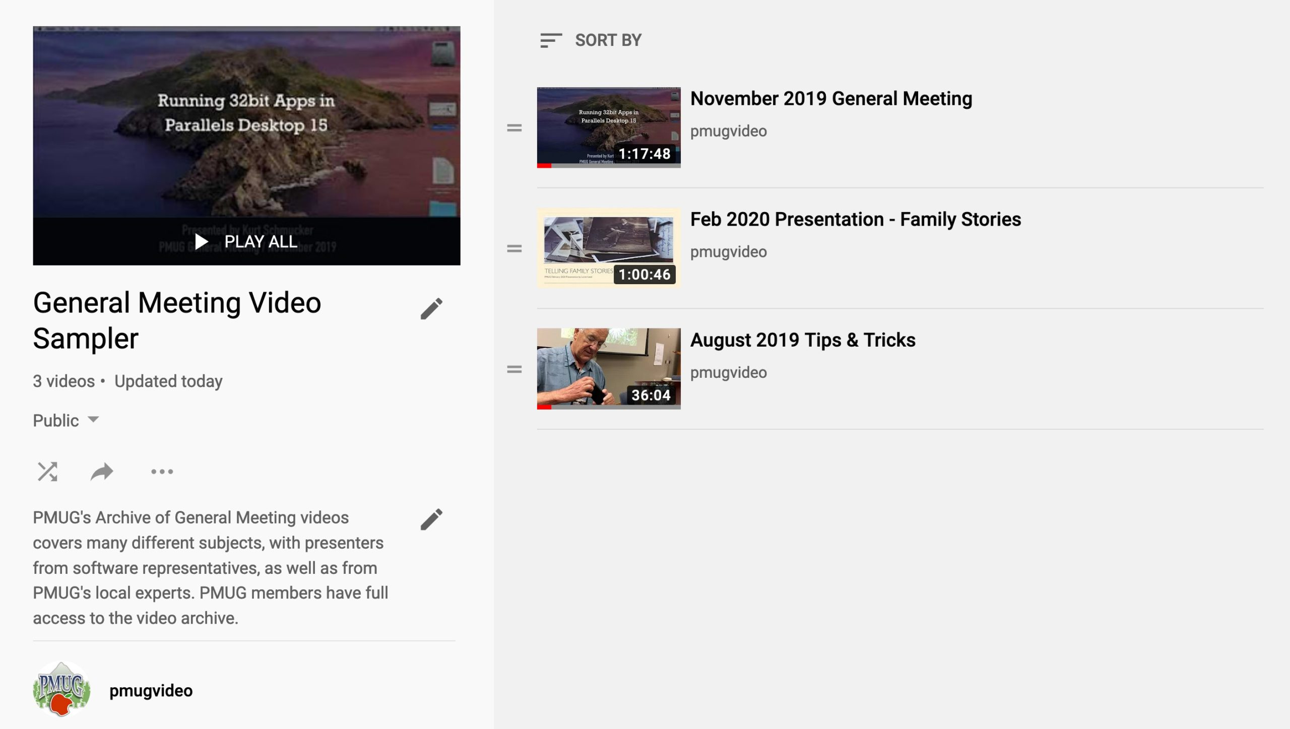 PMUG YouTube Channel interface