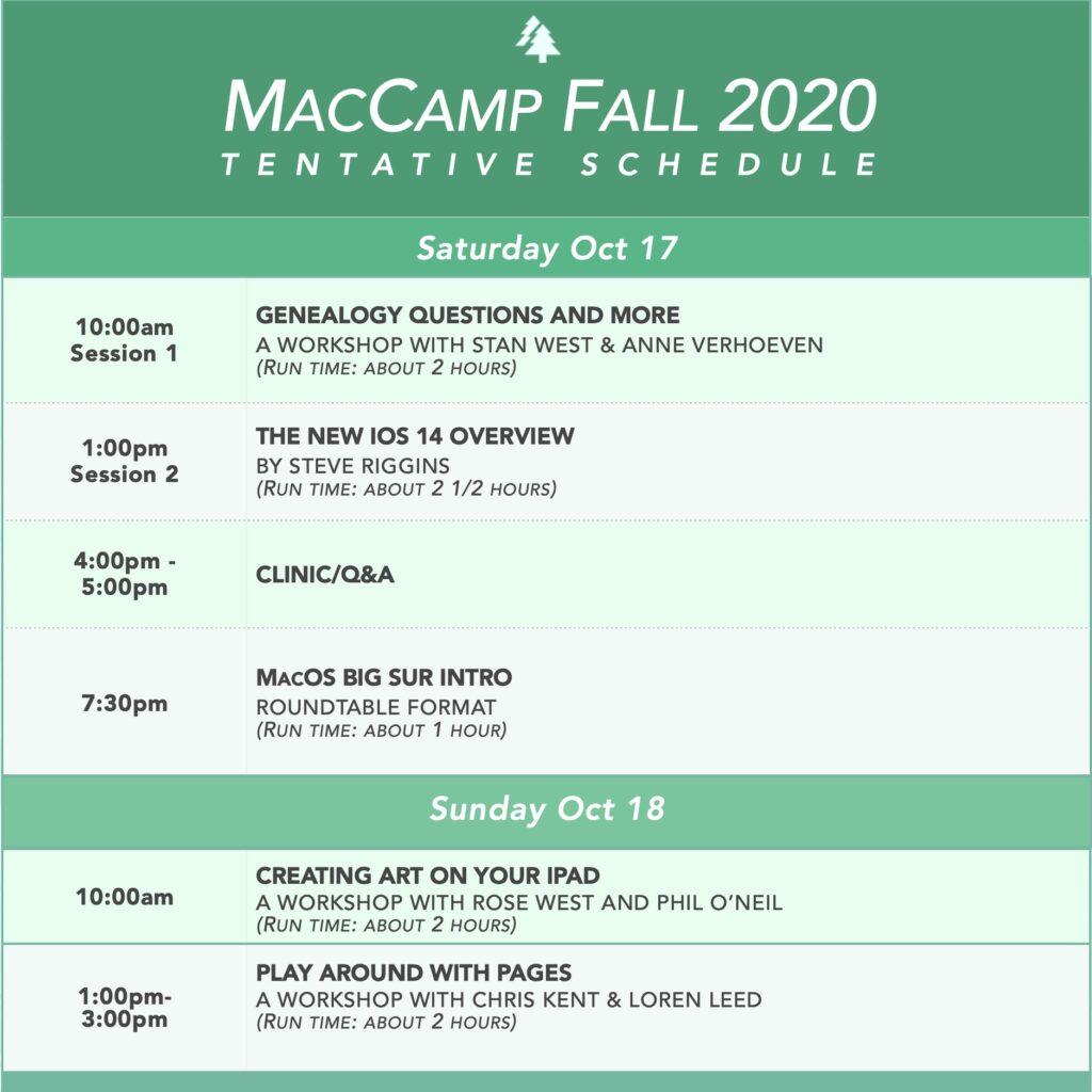 Tenative Schedule